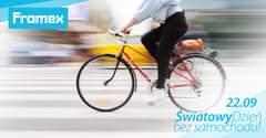 """Obraz może zawierać: ludzie jadą na rowerach, rower i na zewnątrz, tekst """"Framex 22.09 ŚwiatowyDzięń Dzięń bez samochodu!"""""""